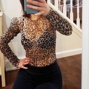 Victoria's Secret leopard sheer bodysuit